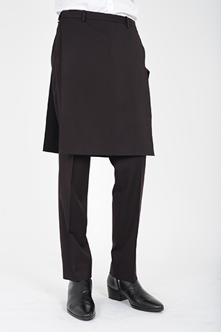 LONG APRON  SLIM STRAIGHT SLACKS